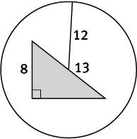 A shaded right triangle with hypotenuse 13 and leg 8 inside a circle with radius 12.