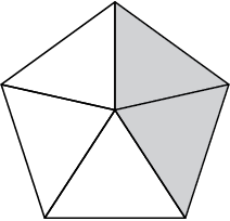 A regular pentagon divided into fifths. Two of the regions are shaded.
